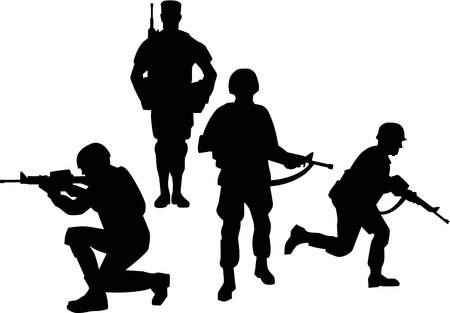 infantry: Soldier Group Silhouettes