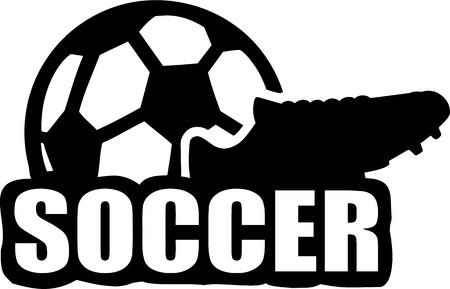 soccer shoe: Soccer Football Shoe Ball Illustration