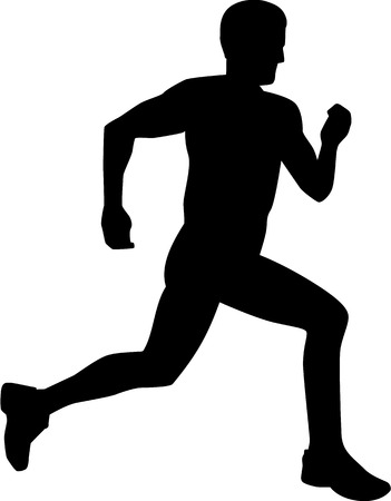 marathon runner: Man Running Silhouette Illustration