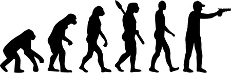 human evolution: Shooting evolution illustration