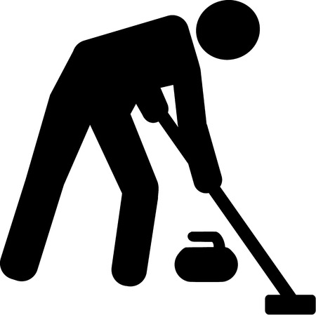 sweeper: Curling Sweeper Pictogram Illustration