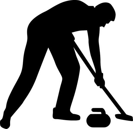 Curling Sweeper Silhouette