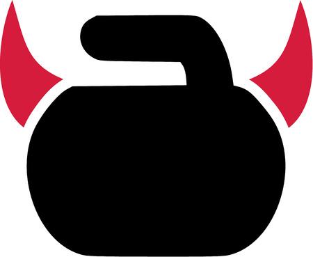 curling: Curling Rock Devil Illustration