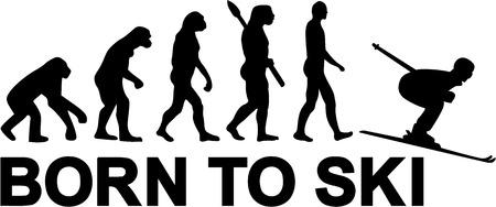 jumping monkeys: Ski Downhill Evolution Illustration