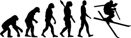 jumping monkeys: Ski Jump Evolution Illustration