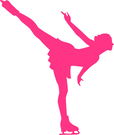 silhouette femme: Femme Figure Skater Illustration