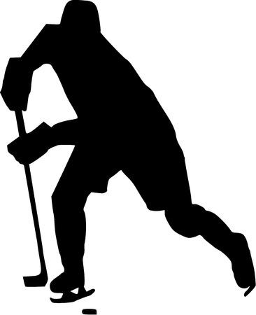 icehockey: Hockey Player with Puk Illustration