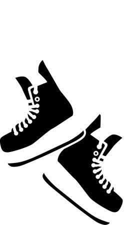ホッケー スケート靴をぶら下げ  イラスト・ベクター素材