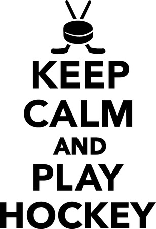 ice hockey player: Keep Calm and Play Hockey Illustration