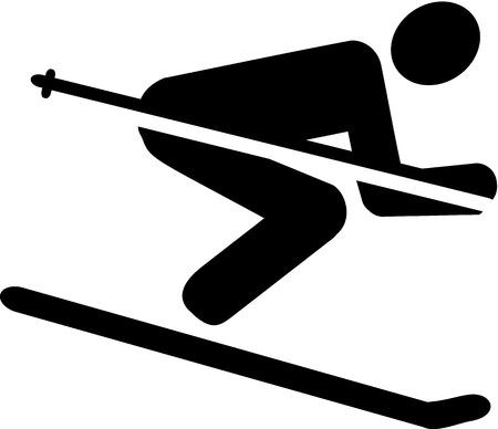 ice slide: Ski Downhill Pictogram