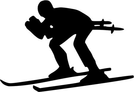 ice slide: Ski Downhill