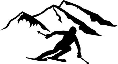 Ski Run Mountains Background Vectores