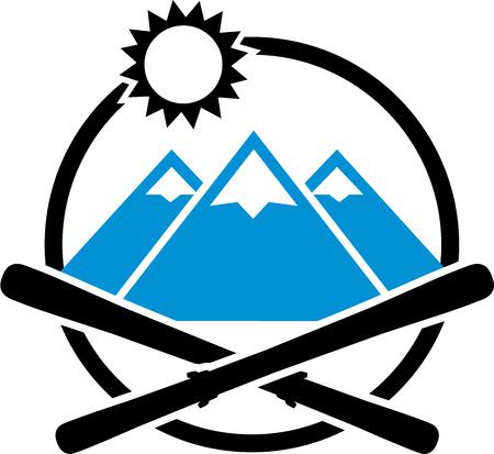 ice slide: Skis crossed Emblem Mountains Illustration