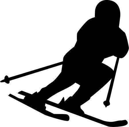 skipiste: Ski Run Silhouette isoliert