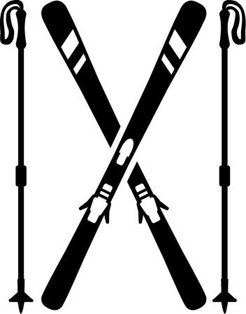 ice slide: Skis with Sticks Illustration