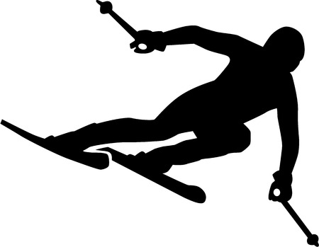 Ski Run Silhouette Vectores