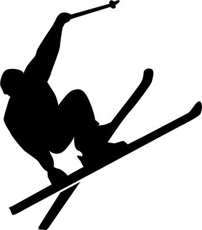 ice slide: Ski Stunt Silhouette