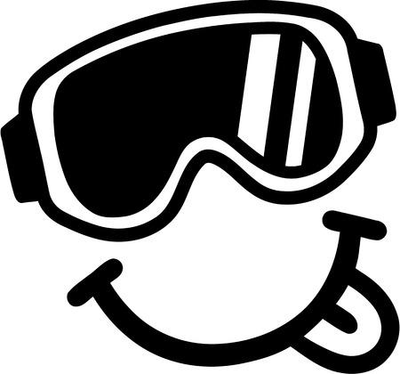 ice slide: Smiley Ski Goggles Tounge Illustration