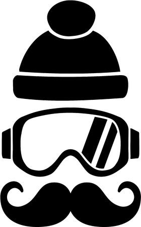 ski goggles: Ski Goggles Hat Mustache