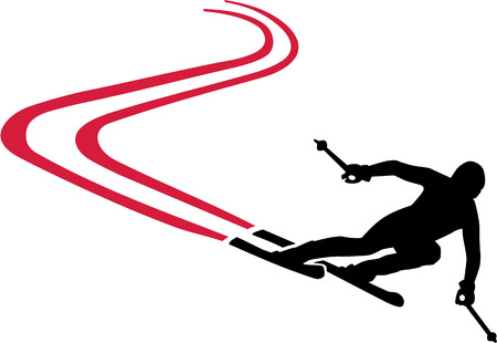 slalom: Ski Run with Red Track