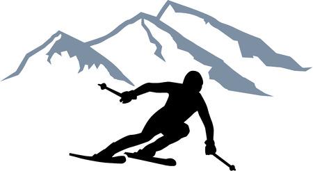 skis: Skier Silhouette Mountains Illustration