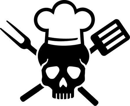 Skull with Chefs Hat Illustration