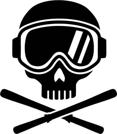 Skull with Ski Goggles and Skis