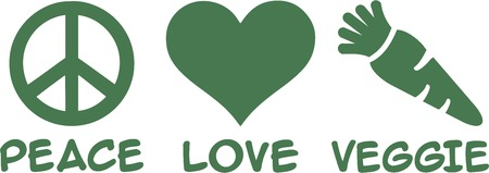 peace and love: Vegetarian Peace Love Illustration
