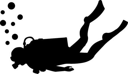 scuba: Scuba diving silhouette