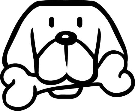 Cartoon dog head with bone Vector