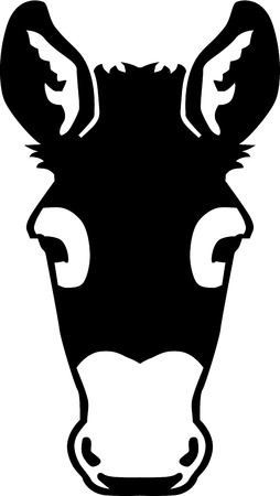 frontview: Frontview Donkey head Illustration