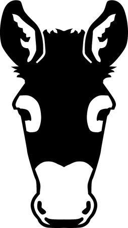 Frontview Donkey head Illustration