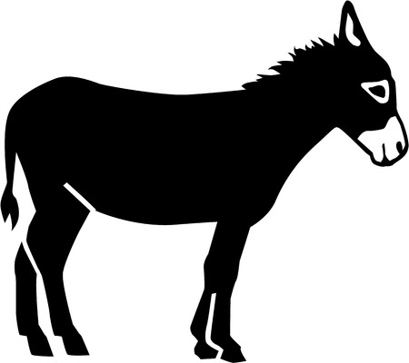 silhouette horse: Real Donkey