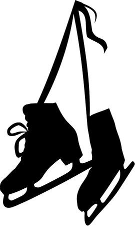Hanging Ice Skates Illustration