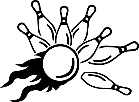 fire ball: Falling Ninepins with fire ball