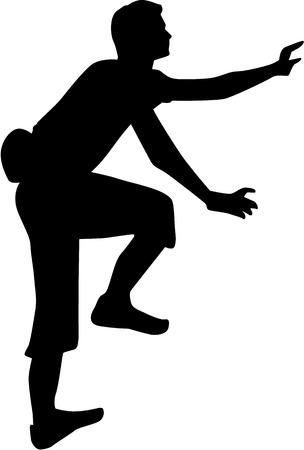 Człowiek sylwetka wspinaczki Ilustracje wektorowe