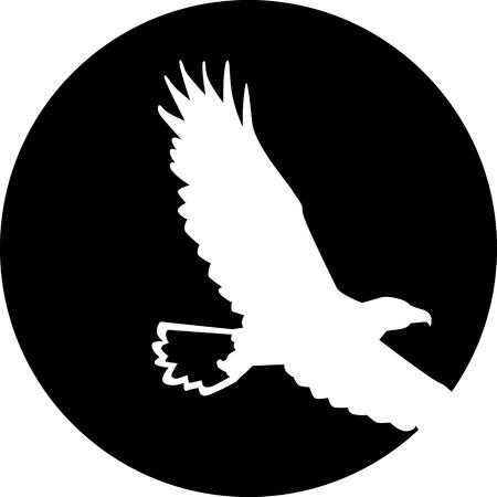 adler silhouette: Weißkopfseeadler vor Mond Illustration