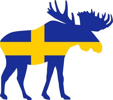 bandera suecia: alces de la bandera de Suecia
