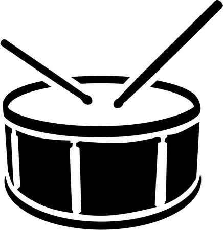 Drum Symbol mit Stöcken