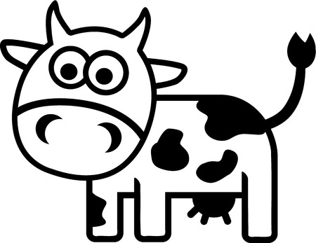 cow milk: Cow comic outline Illustration