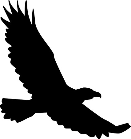 eagle wing: Eagle silhouette flying Illustration