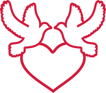 heart outline: Two doves with heart outline
