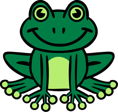 frog green: Smiling frog cartoon