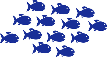 vis: Fish shoal with 13 fish icons Stock Illustratie