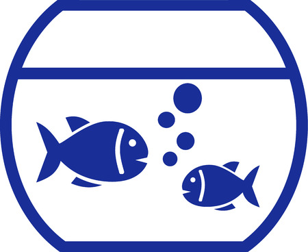 fishbowl: Fishbowl vector with two fishes and bubbles