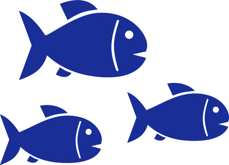 Trois poissons qui nagent dans l'océan Banque d'images - 44788881