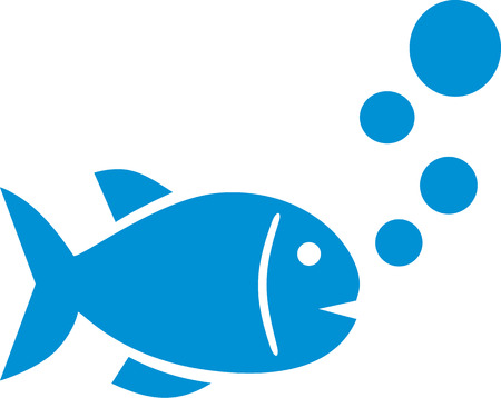 simple fish: Simple fish icon with bubbles