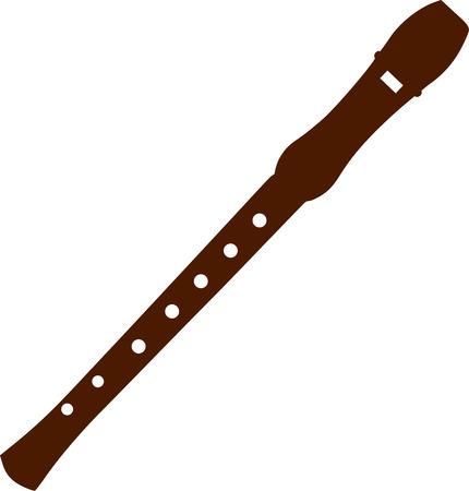 flauta: Madera Flauta Vectores
