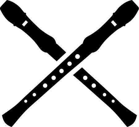 flutes: Crossed flutes Illustration