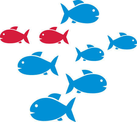 shoal: Fish shoal with blue and two red fishes